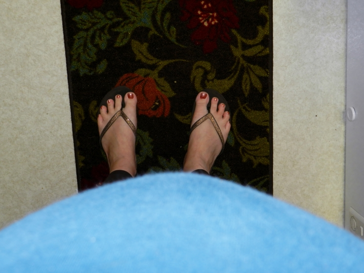 The view these days. I leaned over a little, or you wouldn't see my feet.